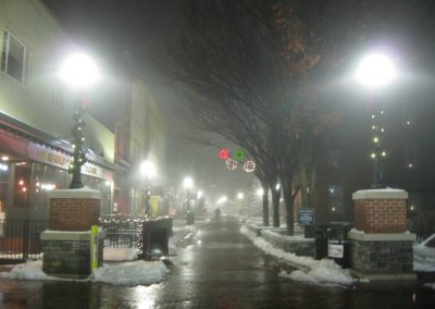 old town walking mall in winchester during winter